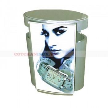thùng bỏ rác in hình quảng cáo