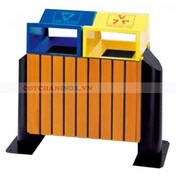 thùng đựng rác bằng gỗ hai ngăn phân loại rác thải