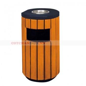 thùng đựng rác gỗ có gạt tàn