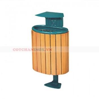 thùng đựng rác gỗ bán nguyệt treo