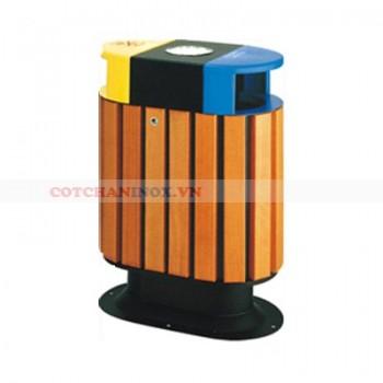 thùng đựng rác gỗ hai ngăn đôi có gạt tàn thuốc