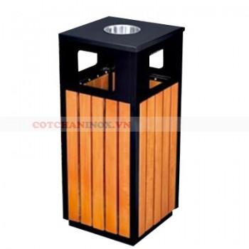 thùng đựng rác gỗ ngoài trời có gạt tàn thuốc lá