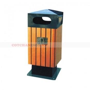 thùng đựng rác kim loại ốp gỗ