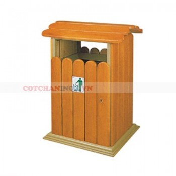 Thùng rác gỗ có mái