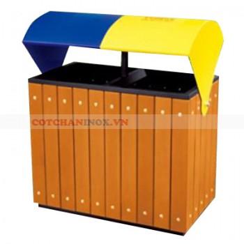 thùng rác gỗ đôi a78g
