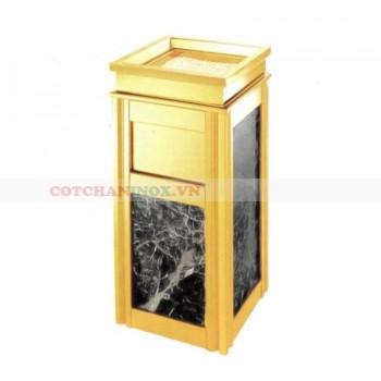Thùng rác inox vàng đá đen
