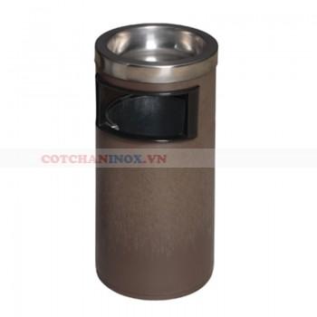 thùng rác nhựa có gạt tàn thuốc lá inox