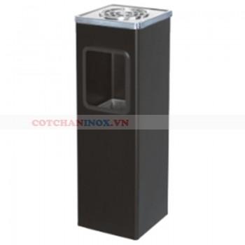 thùng rác vuông màu đen có khay gạt tàn thuốc lá