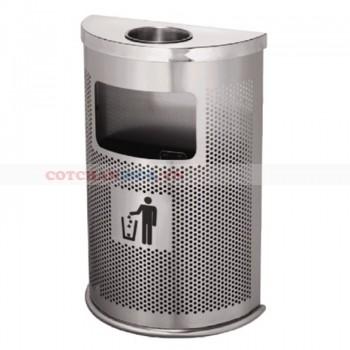 Thùng rác bán nguyệt có gạt tàn thuốc