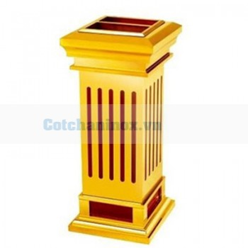 Thùng đựng rác bằng gỗ bọc inox có gạt tàn thuốc lá