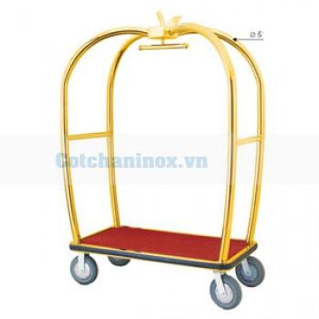 Xe đẩy hành lý inox mạ vàng D15