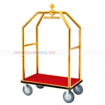 Xe đẩy hành lý khách sạn bằng inox vàng D8