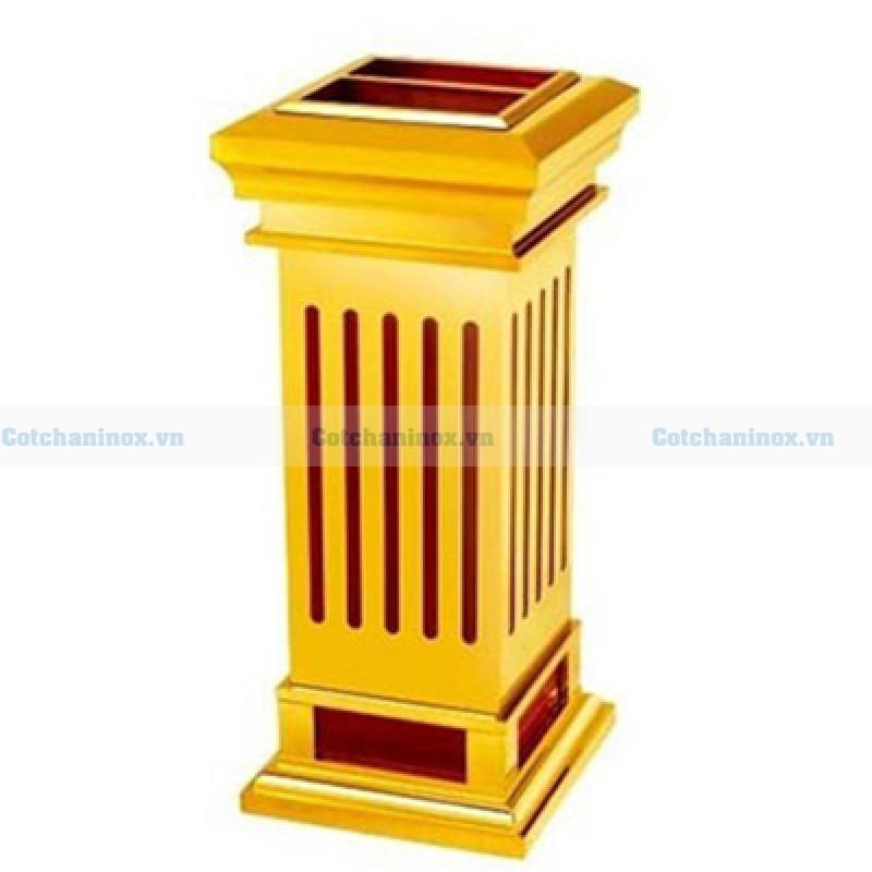 Thùng đựng rác bằng gỗ bọc inox mạ vàng
